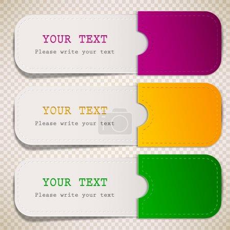 Illustration pour Signets colorés avec place pour le texte - image libre de droit