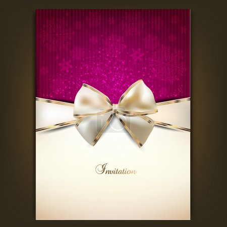 Greeting card with white bow and copy space. Vector illustration