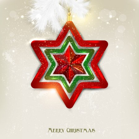 Christmas background with toy. Christmas star. Vector background