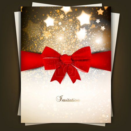 Illustration for Greeting card with red bow and copy space. Vector illustration - Royalty Free Image
