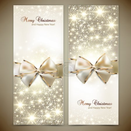 Greeting cards with white bows and copy space. Vector illustrati
