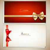 Collection of gift cards and invitations with ribbons Vector background