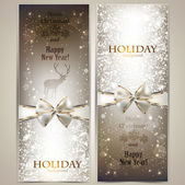 Elegant greeting cards with bows and copy space. Vector illustra