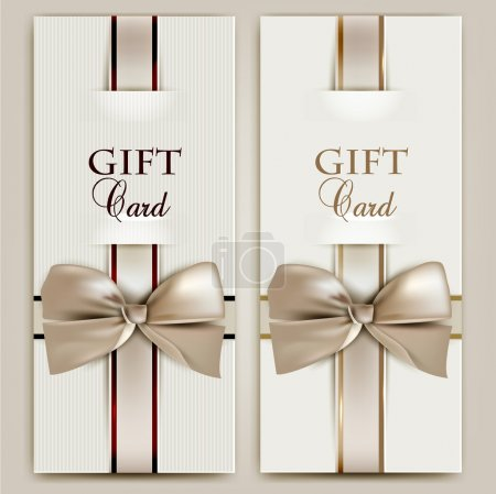 Illustration for Collection of gift cards with ribbons. Vector background - Royalty Free Image