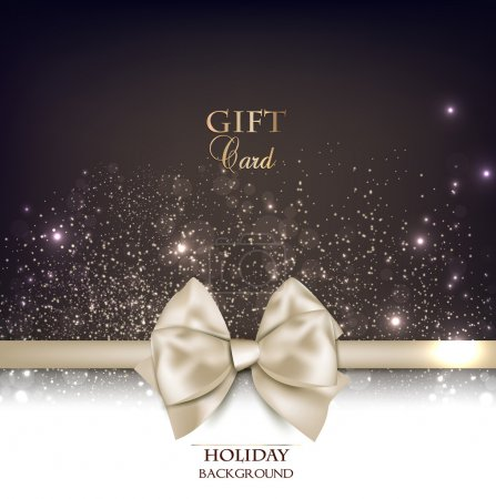 Gorgeous gift card with white bow and copy space. ...