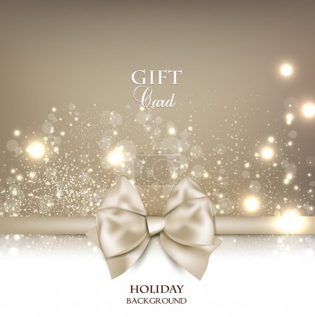 Illustration for Gorgeous gift card with white bow and copy space. Vector illustration - Royalty Free Image