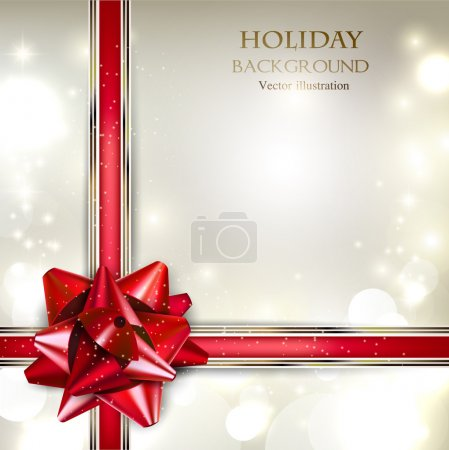 Photo for Elegant Holiday background with red bow and place for text. Vector Illustration. - Royalty Free Image