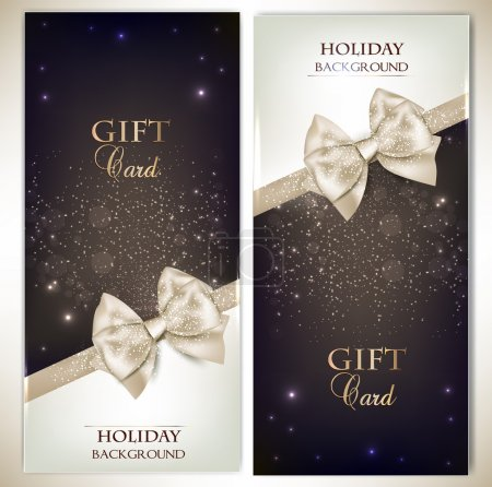 Holiday banners with ribbons.