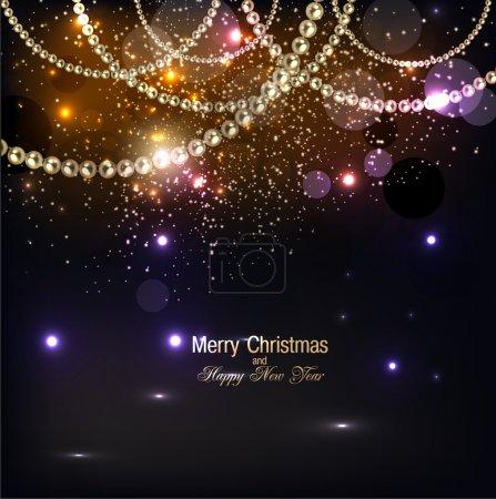 Illustration pour Élégant fond de Noël avec guirlande dorée. Illustration vectorielle - image libre de droit