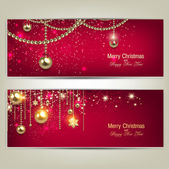 Set of Elegant Red Christmas banners with golden baubles and stars Vector illustration