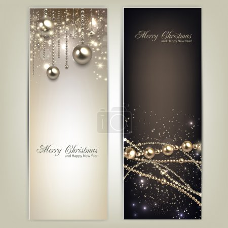 Illustration for Elegant christmas banners with golden baubles and stars. Vector illustration - Royalty Free Image