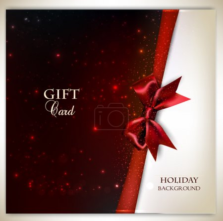 Illustration for Elegant holiday background with red bow and place for text. Vector illustration - Royalty Free Image