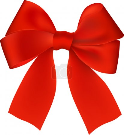 Illustration for Realistic red bow isolated on white background - Royalty Free Image