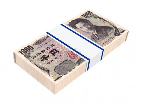 Japanese yen money isolated on white background.