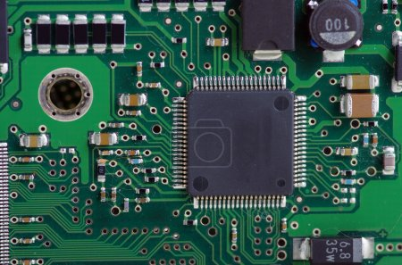 Photo for Green computer board with chips and components. - Royalty Free Image