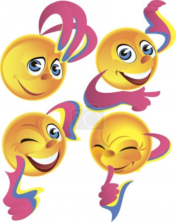 Illustration for Four yellow Smileys expressing different positive emotions - Royalty Free Image