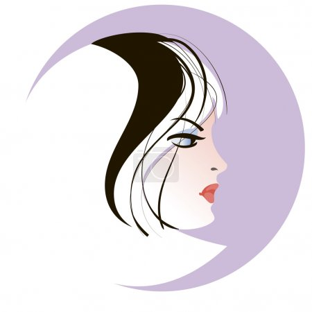 Illustration for Stylized portrait of a blonde young woman in profile against a circle - Royalty Free Image