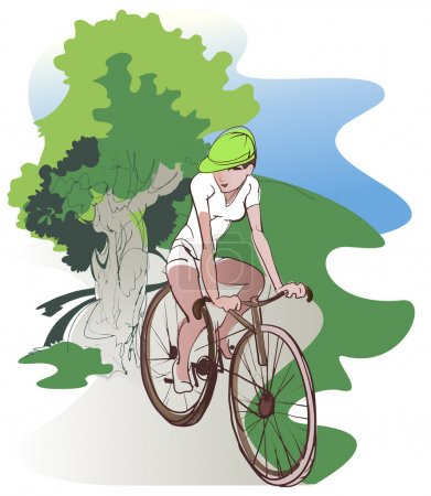 Illustration for The girl - cyclist on a country walk - Royalty Free Image