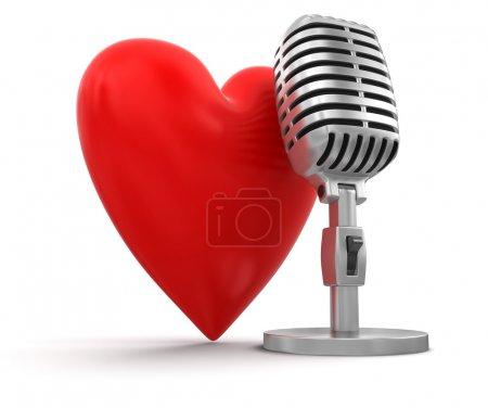 Photo pour Coeur avec Microphone - image libre de droit