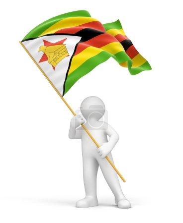 Man and Zimbabwe flag