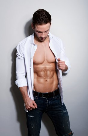 Handsome,young man with six pack