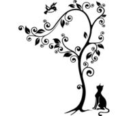 Cat under a tree looking at the bird Black-and-white illustration