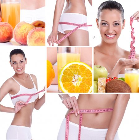 Photo for Beautiful healthy lifestyle theme collage made from few photographs, weightloss - Royalty Free Image