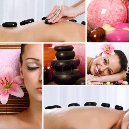Photo pour Collage de photos pour le thème Spa composé de différentes images - image libre de droit