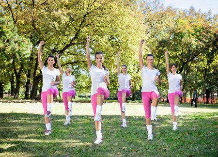 Group of women in an aerobics class at the park...