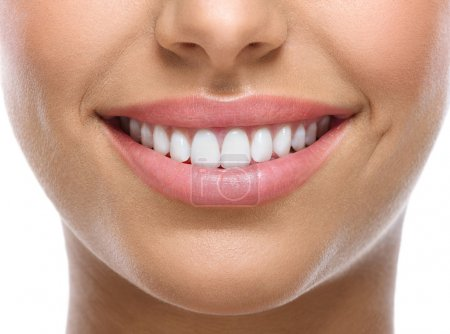 Photo for Closeup of smile with white heatlhy teeth - Royalty Free Image
