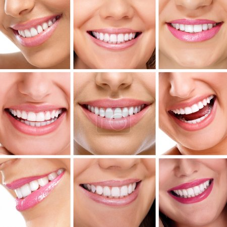 Photo for Smiling happy people with healthy teeth. Dental health. Collage. - Royalty Free Image