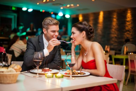 Photo for Love- romantic valentine's day dinner in restaurant - Royalty Free Image