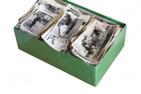 Photo for The box with a bunch of old photos, clipping path - Royalty Free Image