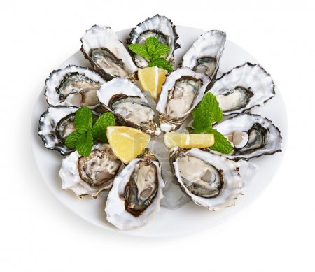 Photo for Dozen oysters on white plate with ice and lemon isolated on white background - Royalty Free Image