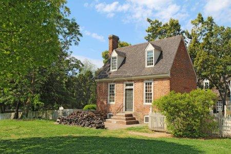 A small brick building in Colonial Williamsburg, Virginia