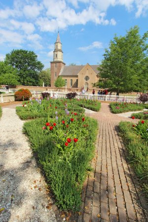 Gardens at Colonial Williamsburg in front of Bruton Parish Churc