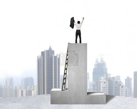 Businessman standing on podium with wooden ladder and city view