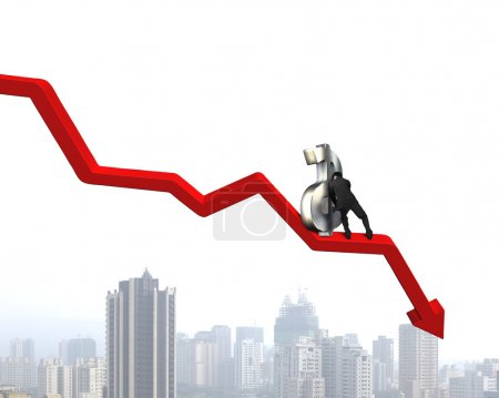 Moving up money symbol on going down arrow