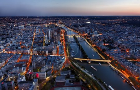 Aerial View of Paris at the Sunset