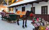 Traditionelle rumänische Schlitten mit Pferd