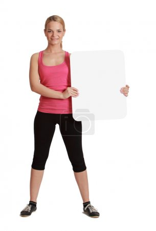 Young Woman with a Blank Board