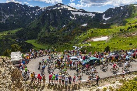 Col de Pailheres,France- July 07 2013: The peloton...
