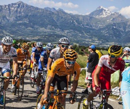 Col de Manse, France- July 16, 2013: The peloton p...