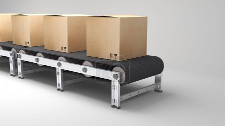 conveyor belt with cartons