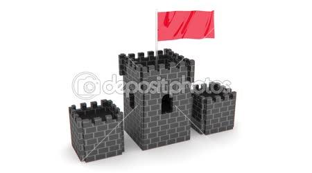 Hrad s červenou vlajkou