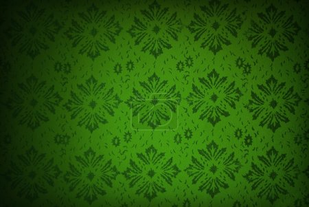 Photo for Dark green floral retro wallpaper - Royalty Free Image