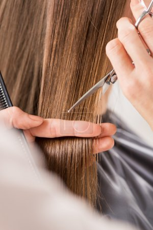 Photo for Hairdresser cut hair of a woman. Close-up. - Royalty Free Image