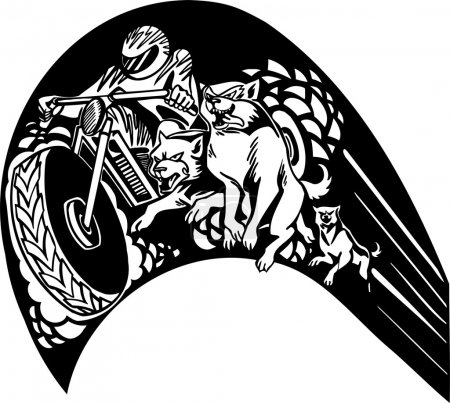 Motorbike and wolfs. Vector illustration.