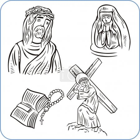 Jesus Christ and bible - vector illustration
