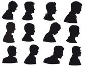 Silhouette of men head man face in profile Isolated on white background